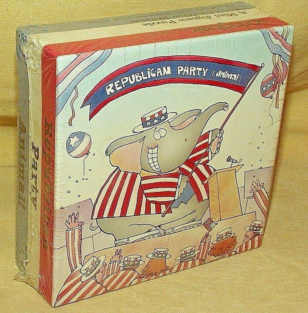 REPUBLICAN PARTY ANIMAL PUZZLE SPRINGBOK HALLMARK NEW 70 ...