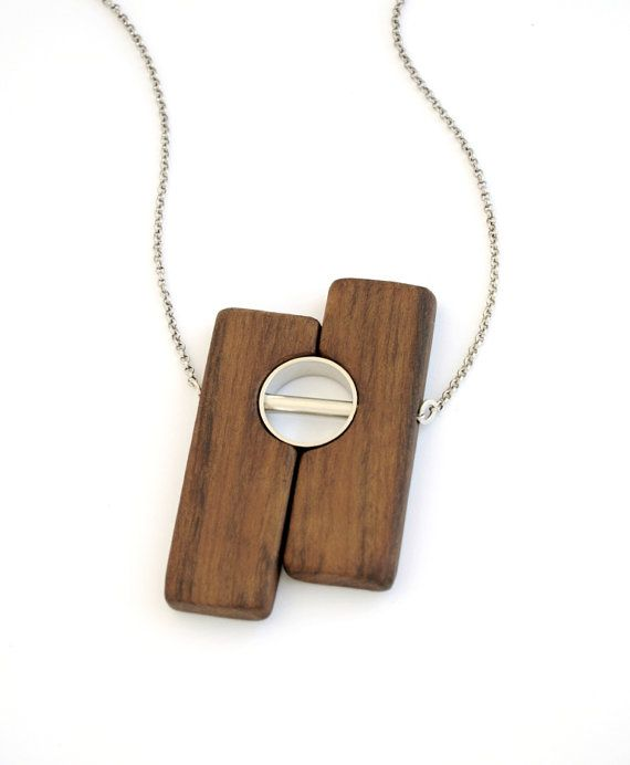 Wood pendant necklace wood jewelry wood necklace wood and silver look 2 pendant ambuia wood and palladiumplated by closeupjewelry mozeypictures Choice Image