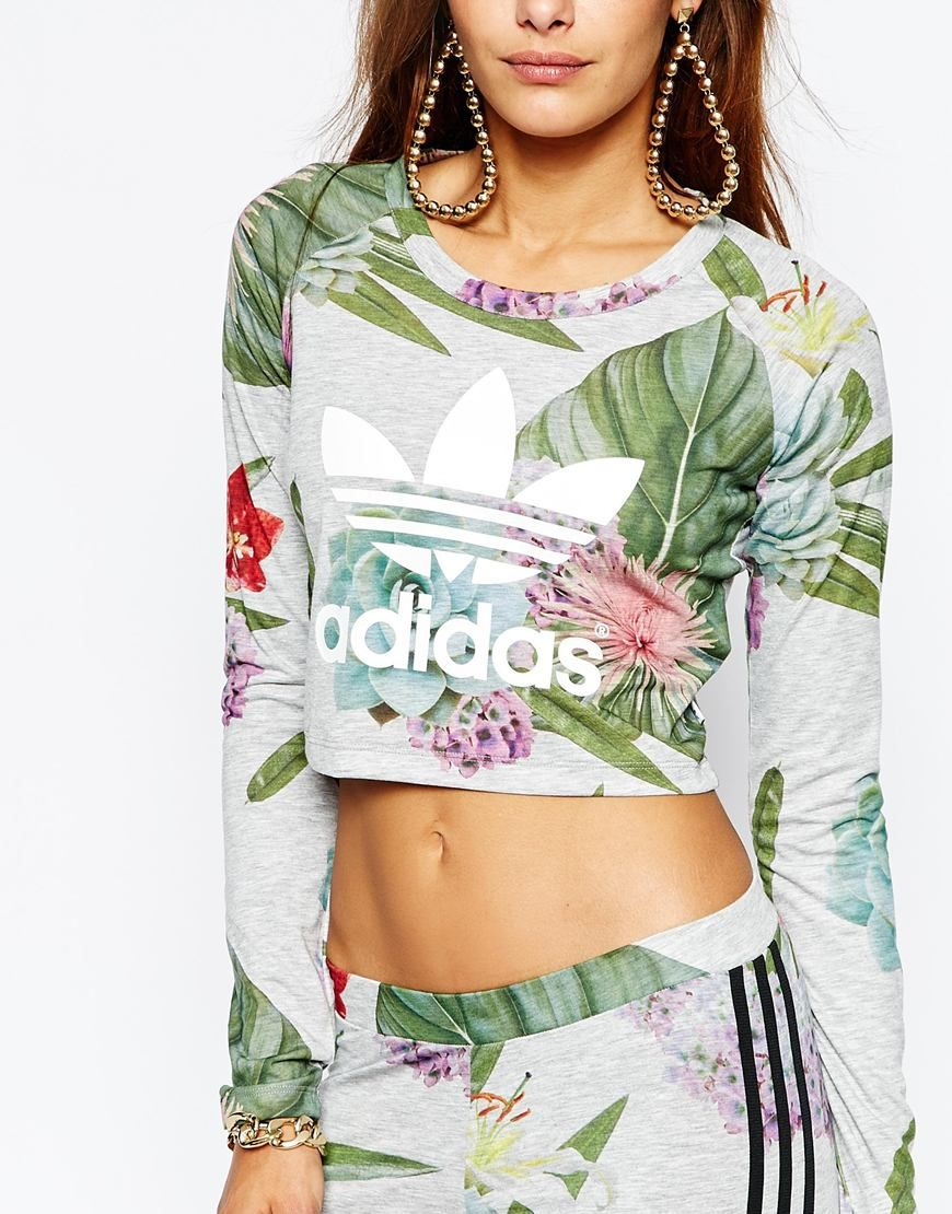 b0d17211b84f0 Image 3 of adidas Originals Adicolour Long Sleeve Crop Top With Trefoil  Logo In Botanical Floral