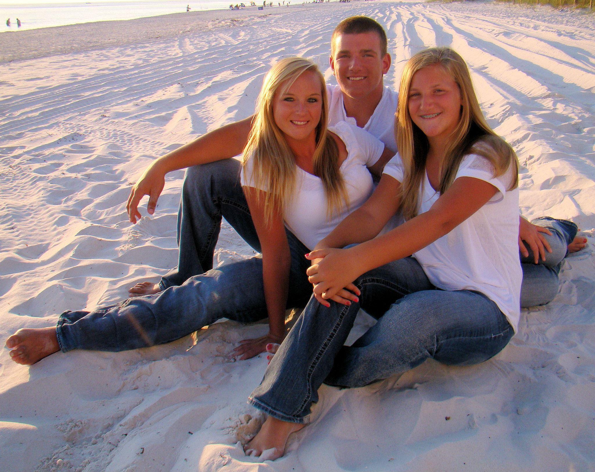 Teen Siblings Family Beach