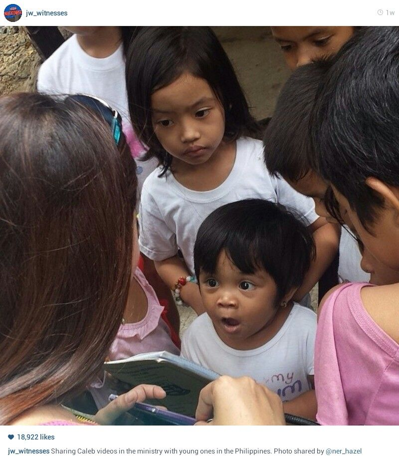 Sharing Caleb videos with young ones in the ministry in the Philippines