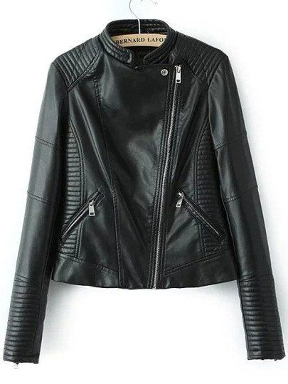 d7b143fc84 Black Stand Collar Oblique Zipper Crop Jacket in 2019 | My Style ...