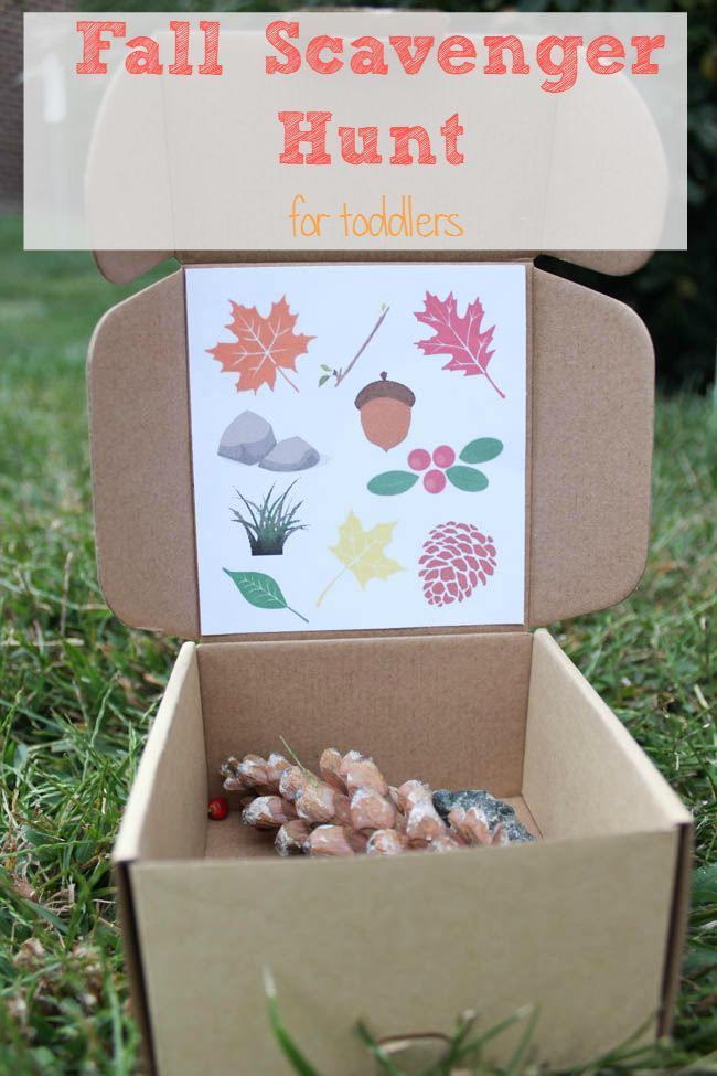 Fall Scavenger Hunt for Toddlers. Hands on learning by collecting various fall…