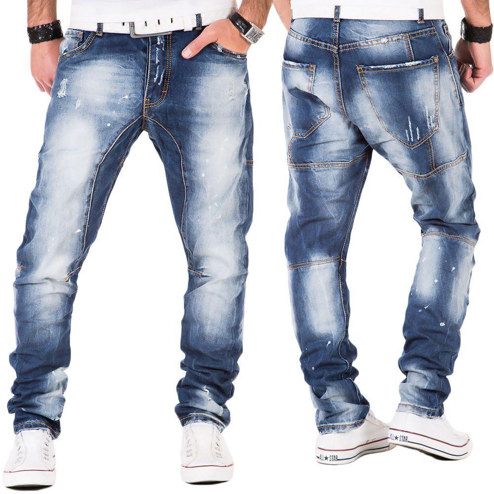 Cipo /& Baxx Herren Jeans Hose Verwaschen Ziernähte Clubwear Vintage Chino Blau
