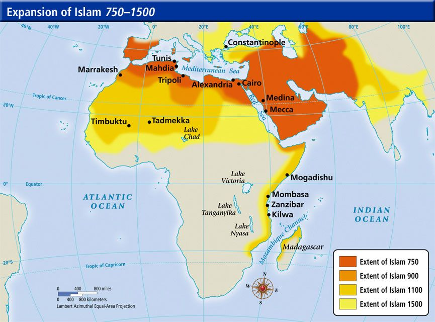 The spread of the Islamic religion in Africa from 750-1500 - fresh world history map activities the rise of islam answers