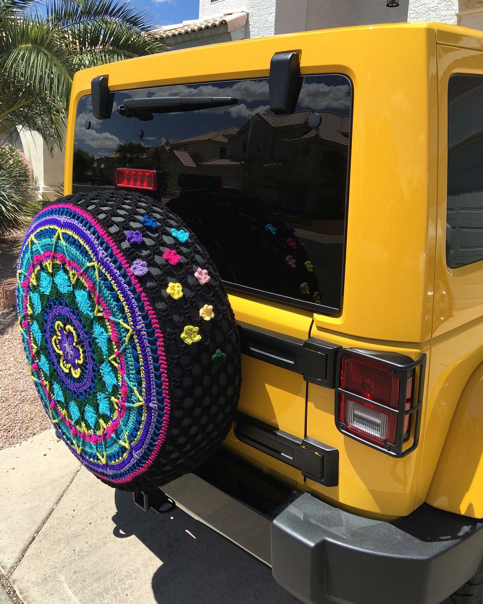 Custom Tire Cover Spare Tire Cover Flower Burst Crochet Jeep Crv Fjcruiser Rav4 Cover Jeep Tire Cover Tire Cover Custom Tire Covers