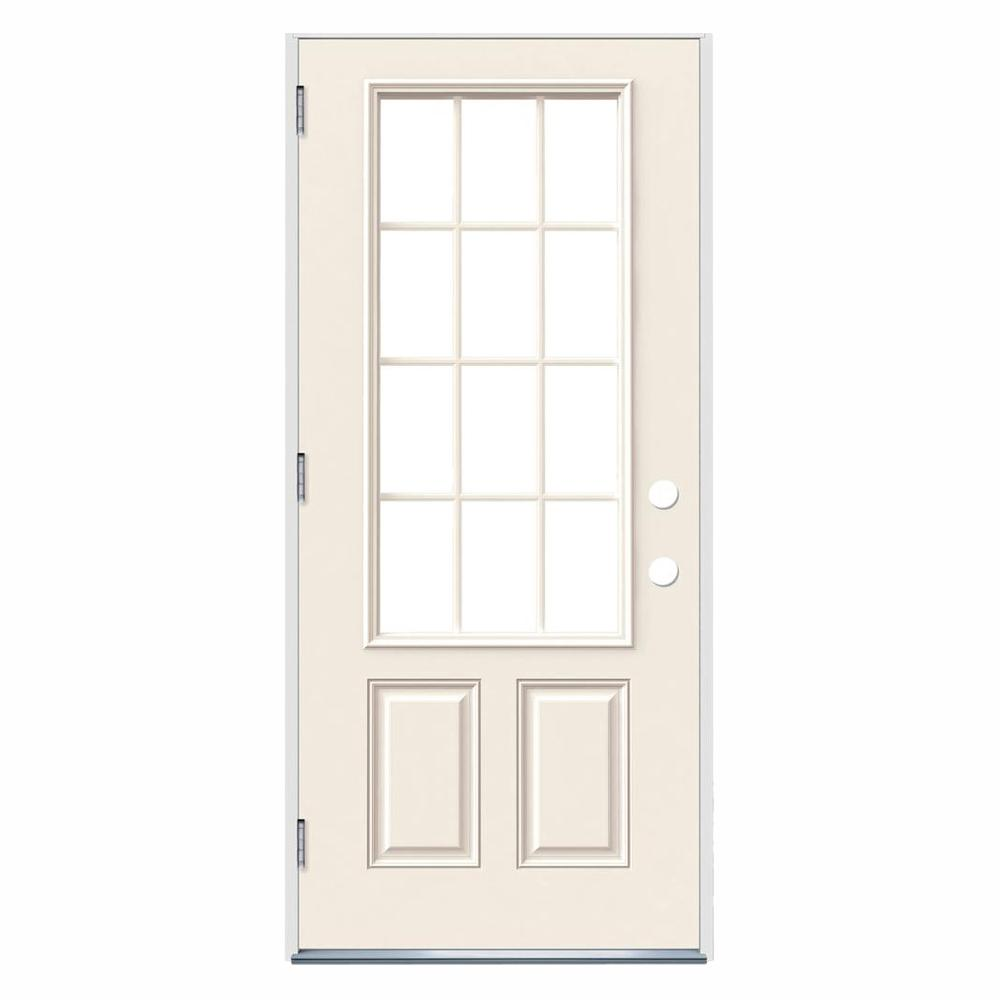 Jeld Wen 36 In X 80 In 12 Lite Primed Steel Prehung Right Hand Outswing Front Door Thdjw190900031 The Home Depot Jeld Wen Front Door Home