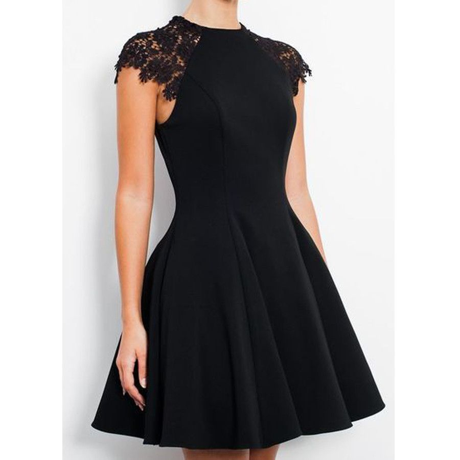 Black Cap Sleeve Modest Tight fashion simple elegant homecoming prom