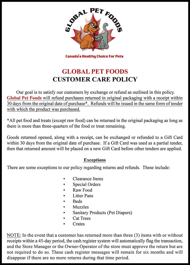 The Global Pet Foods Customer Care Policy Food Animals Animal