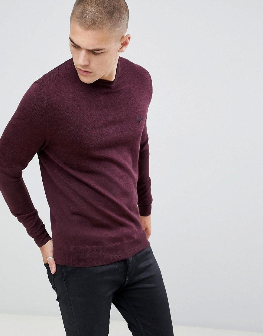 459115cc FRED PERRY CREW NECK MERINO KNITTED SWEATER IN BURGUNDY MARL - RED.  #fredperry #cloth