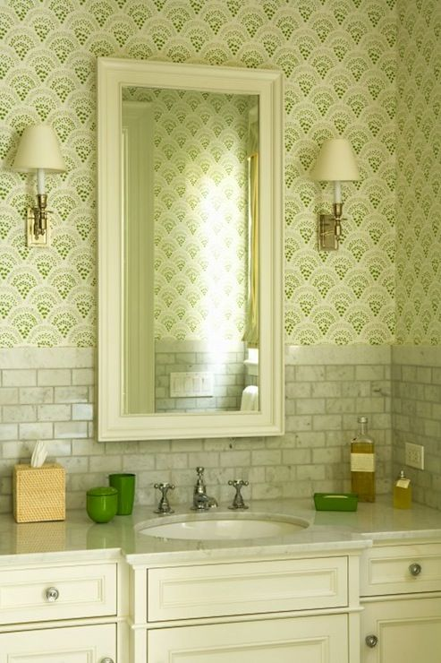 Beautiful Ivory Amp Green Bathroom Design With Green