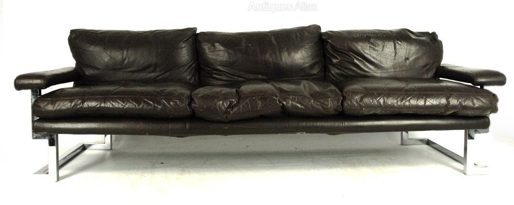 Mandarin Sofa By Pieff Of Worcester Black Leather With Chrome Frame
