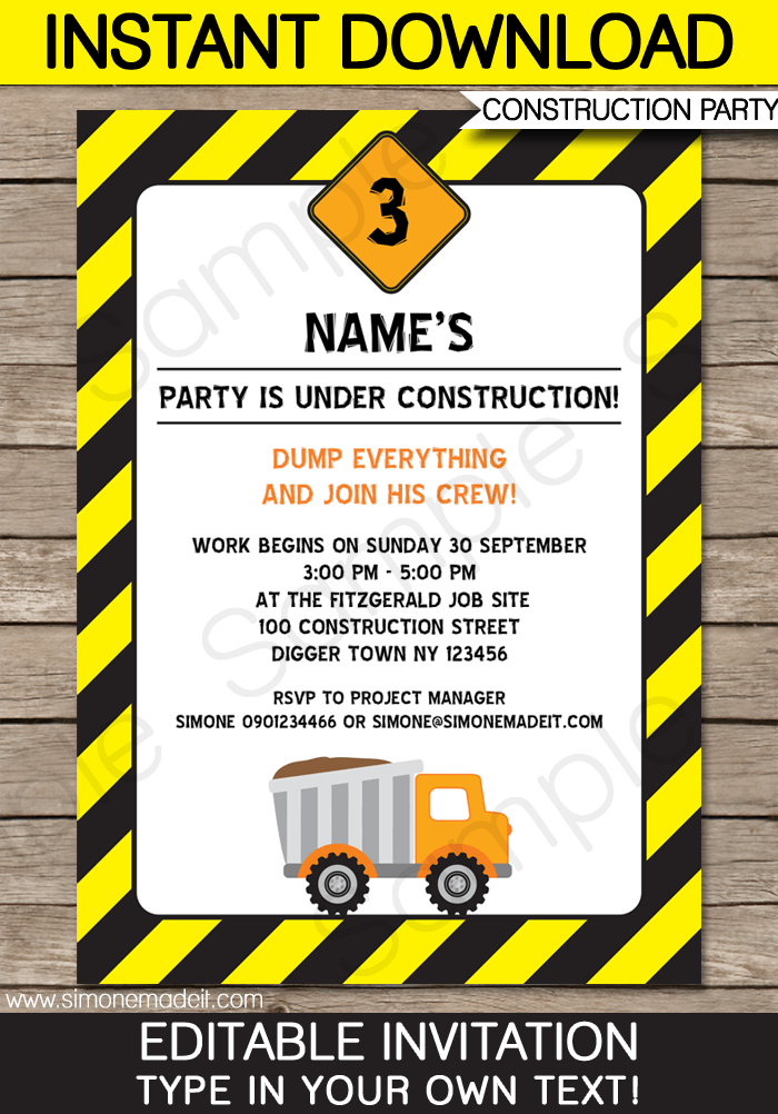 construction party invitations template