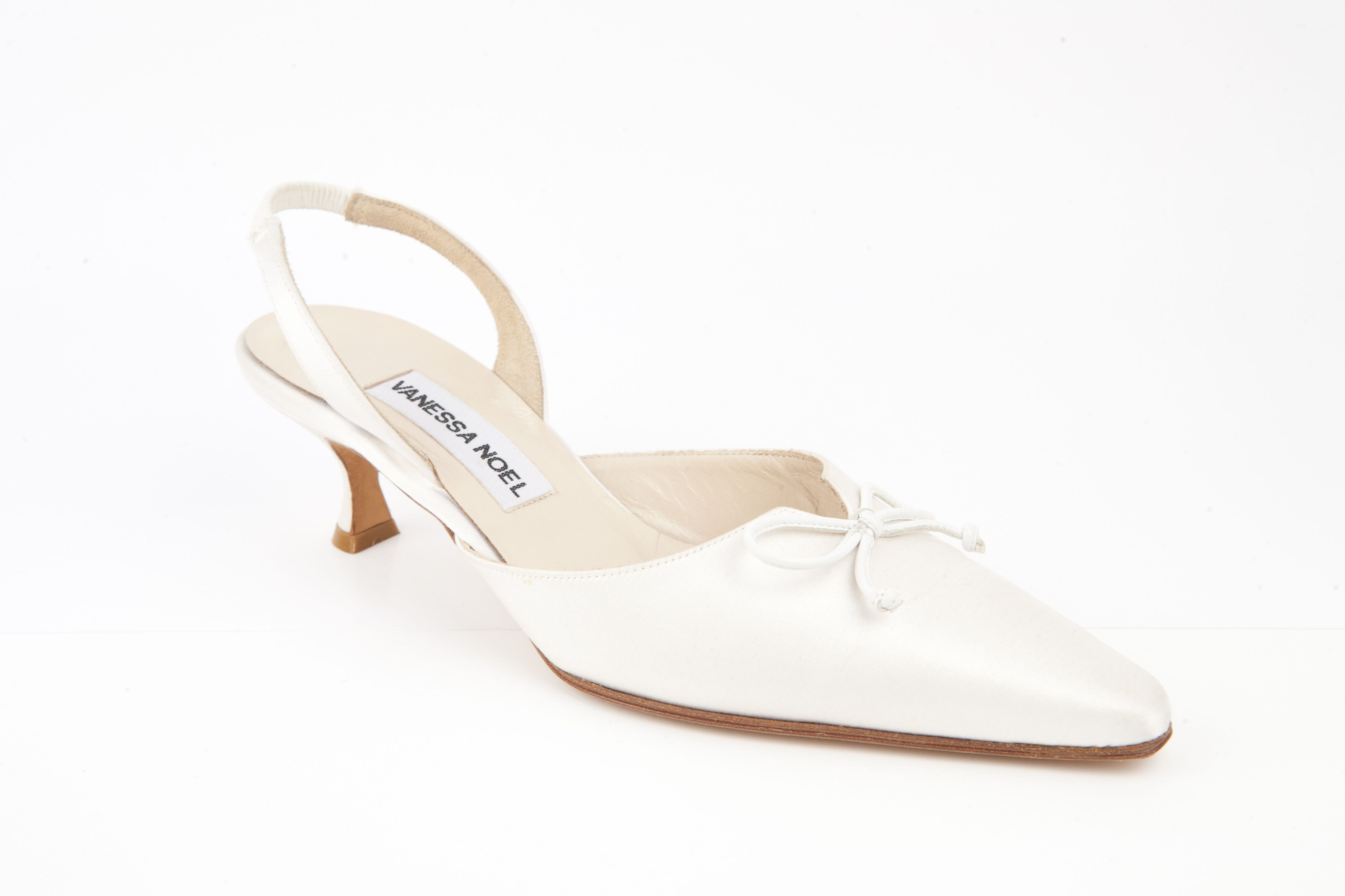 Bell Sling 50mm Timeless Kitten Heel Sling Back Pump In Dyeable White Silk Satin With A Notch Detail And A Small White Ki Kitten Heel Shoes Heels Me Too Shoes