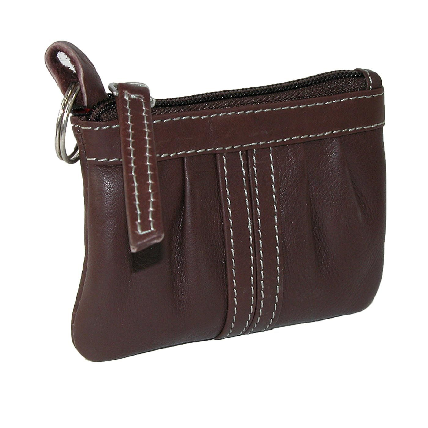 Womens Leather Zipper Coin Purse with Key Ring by Paul & Taylor. Features an attached key ring
