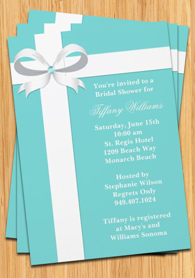 bridal shower invitation blue with ribbon in 2018 tiffany s themed