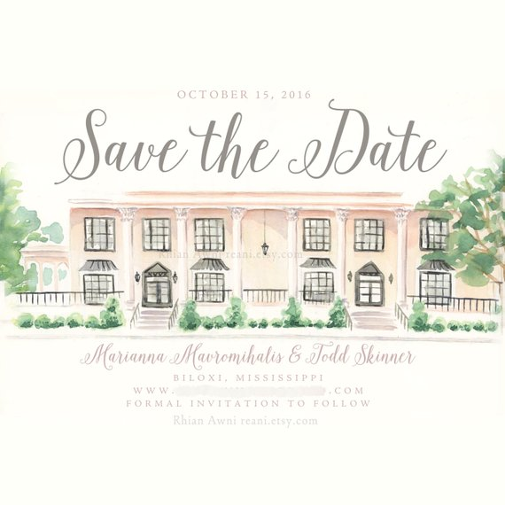 Watercolor Save The Date Card Custom Wedding Portrait Invite