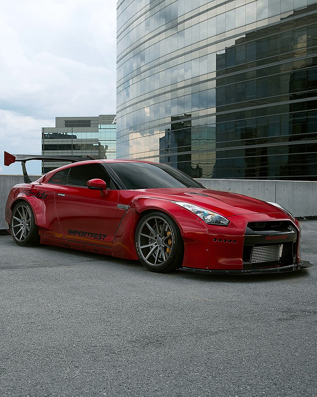 Nissan Gt R Black Supercar 4k Android Wallpaper: Red Rocket Bunny Nissan GT-R With VFS-1 Vossen Wheels