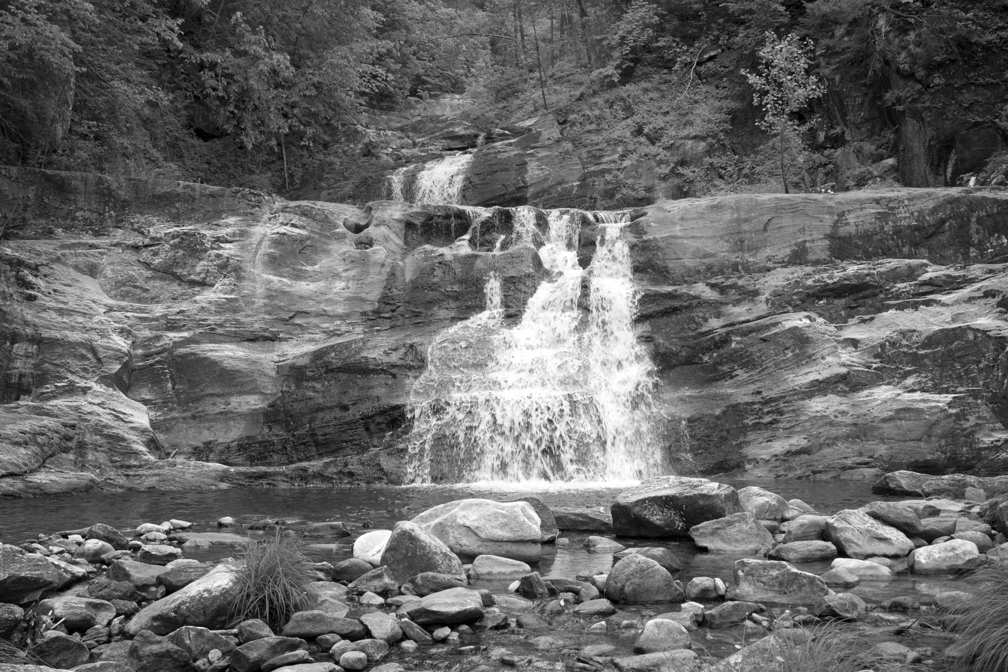 KentFalls I bw - Black and white image of Kent Falls