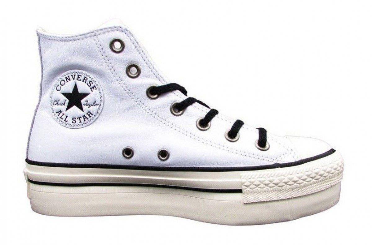 white platform leather converse