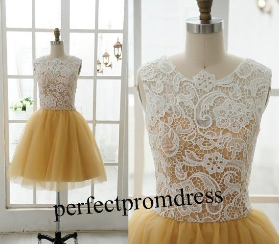 2014 Lace prom dress/short prom dress /lace by perfectpromdress, $88.00