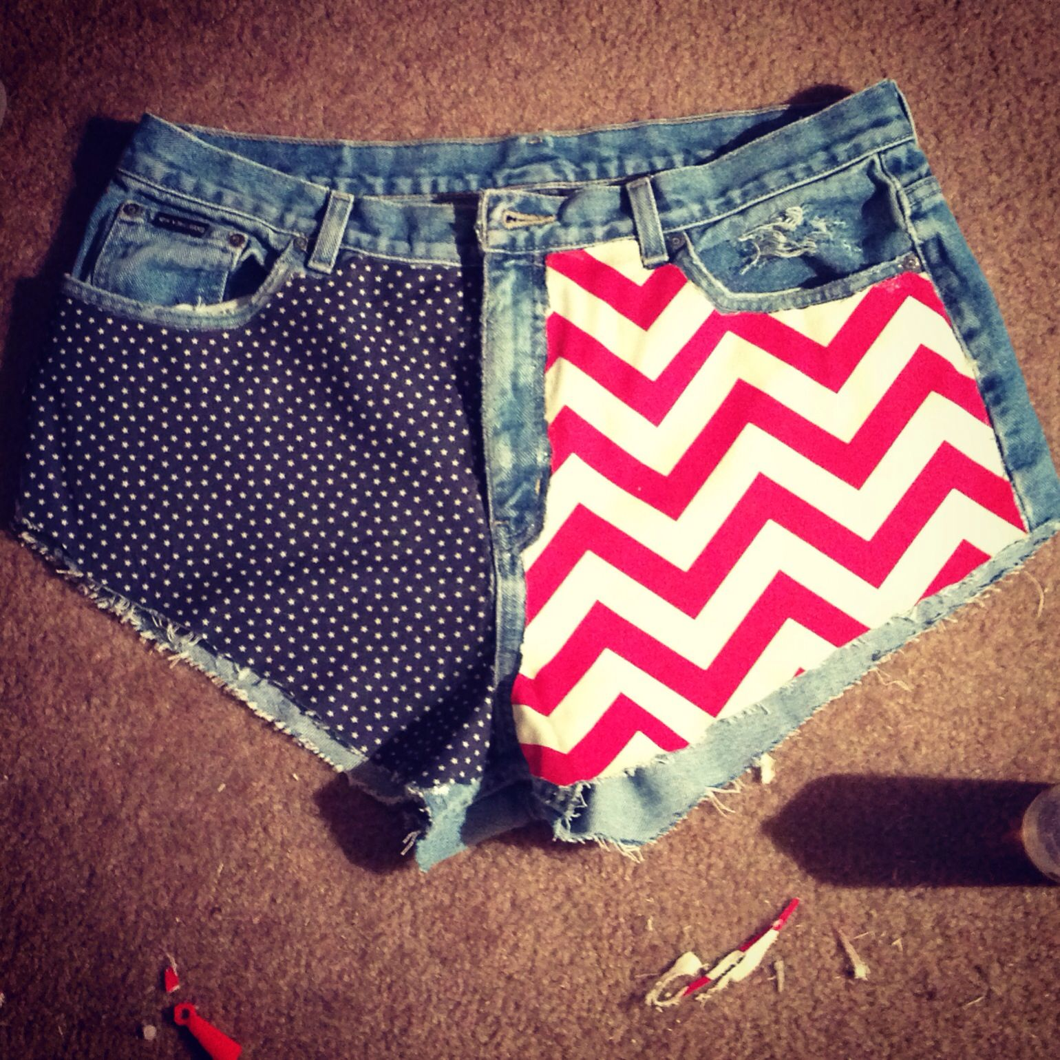 Red, white, and blue cut off shorts