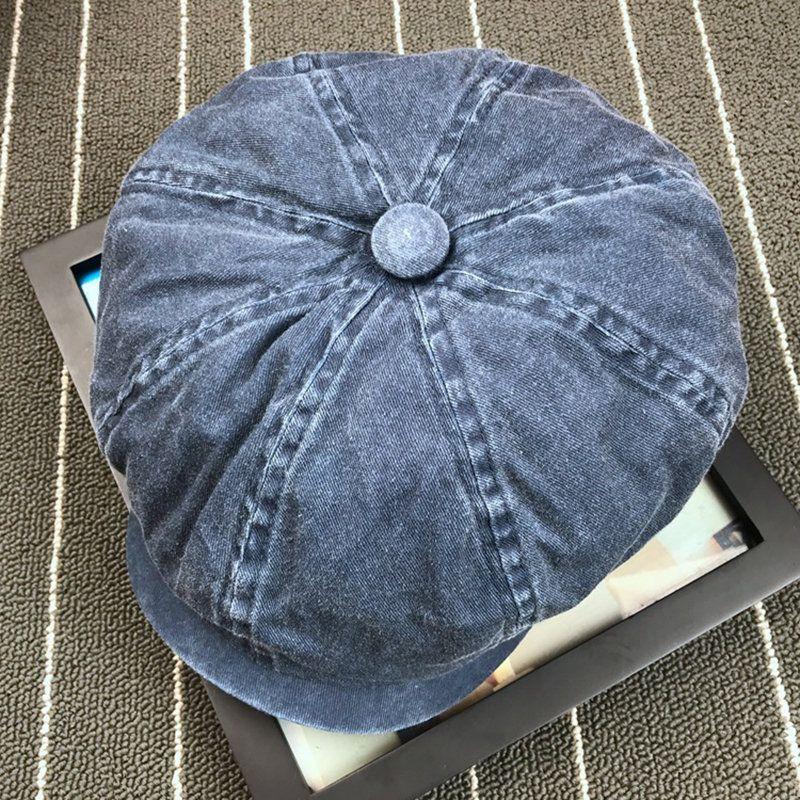 004ebb3e0 Men Denim Cotton Washed Newsboy Hat Windproof Wild Outdoor Casual ...