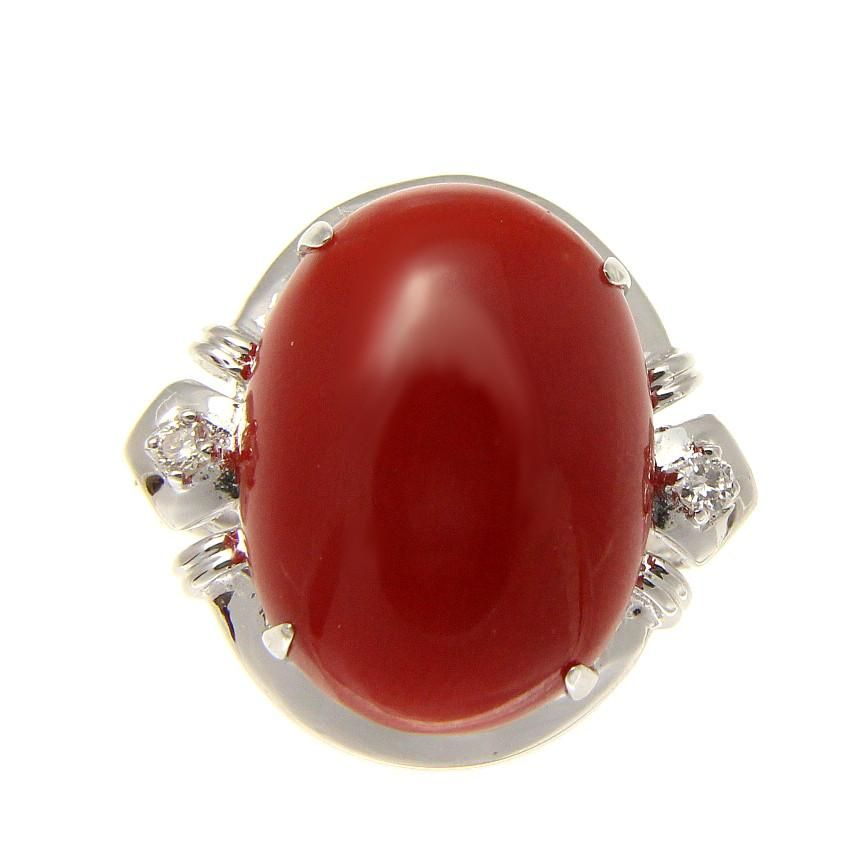 GENUINE NATURAL OVAL CABOCHON RED CORAL PENDANT SOLID 14K WHITE GOLD