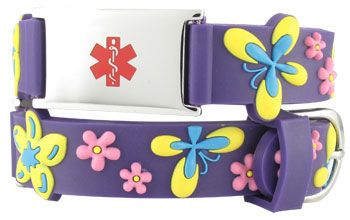 b03adf1f62 Floral Butterfly Action Child Medical ID Bracelet full size | Health ...