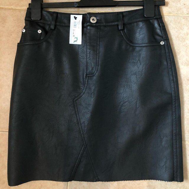 59a480e006 BRAND NEW River Island Black Faux Leather Mini Skirt Size 8 - Depop ...