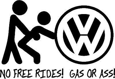 FUNNY VW DECAL Volkswagen Rabbit Eurovan Cabrio Ass Gas