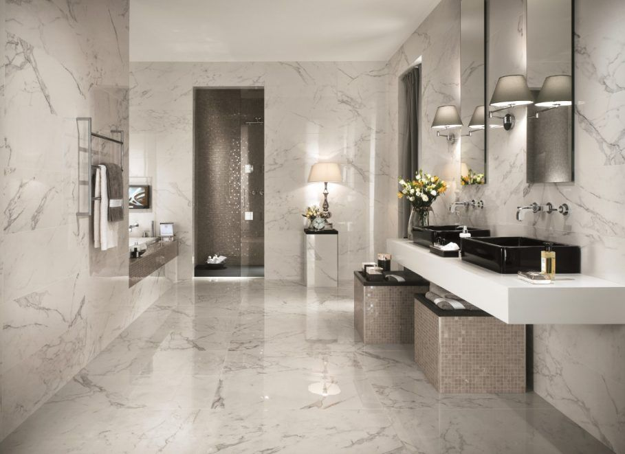 Bathroom, Luxury White Marble Bathroom Tile Background ...