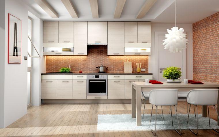 sala da pranzo con tavolo e cucina bianca insieme, pavimento in ...