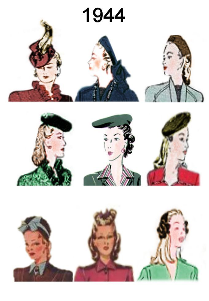 1944 Image Of C20th Fashion History Hair And Hat Styles Hat Fashion Fashion History Hats Vintage