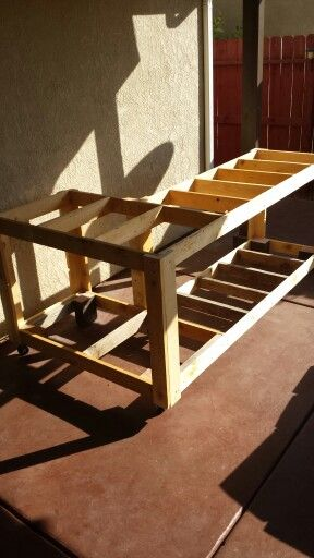 Patio Bar Framed And In Postion Free Wood Is Awesome Porch Bar Building A Home Bar L Shaped Bar