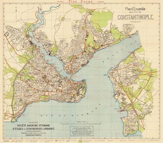 Istanbul Map Constantinopole Map Historical Map Of Istanbul