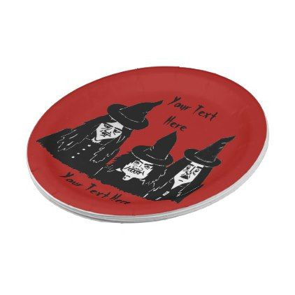 funny spooky black witches scary halloween fun paper plate - halloween decor diy cyo personalize unique  sc 1 st  Pinterest & funny spooky black witches scary halloween fun paper plate ...