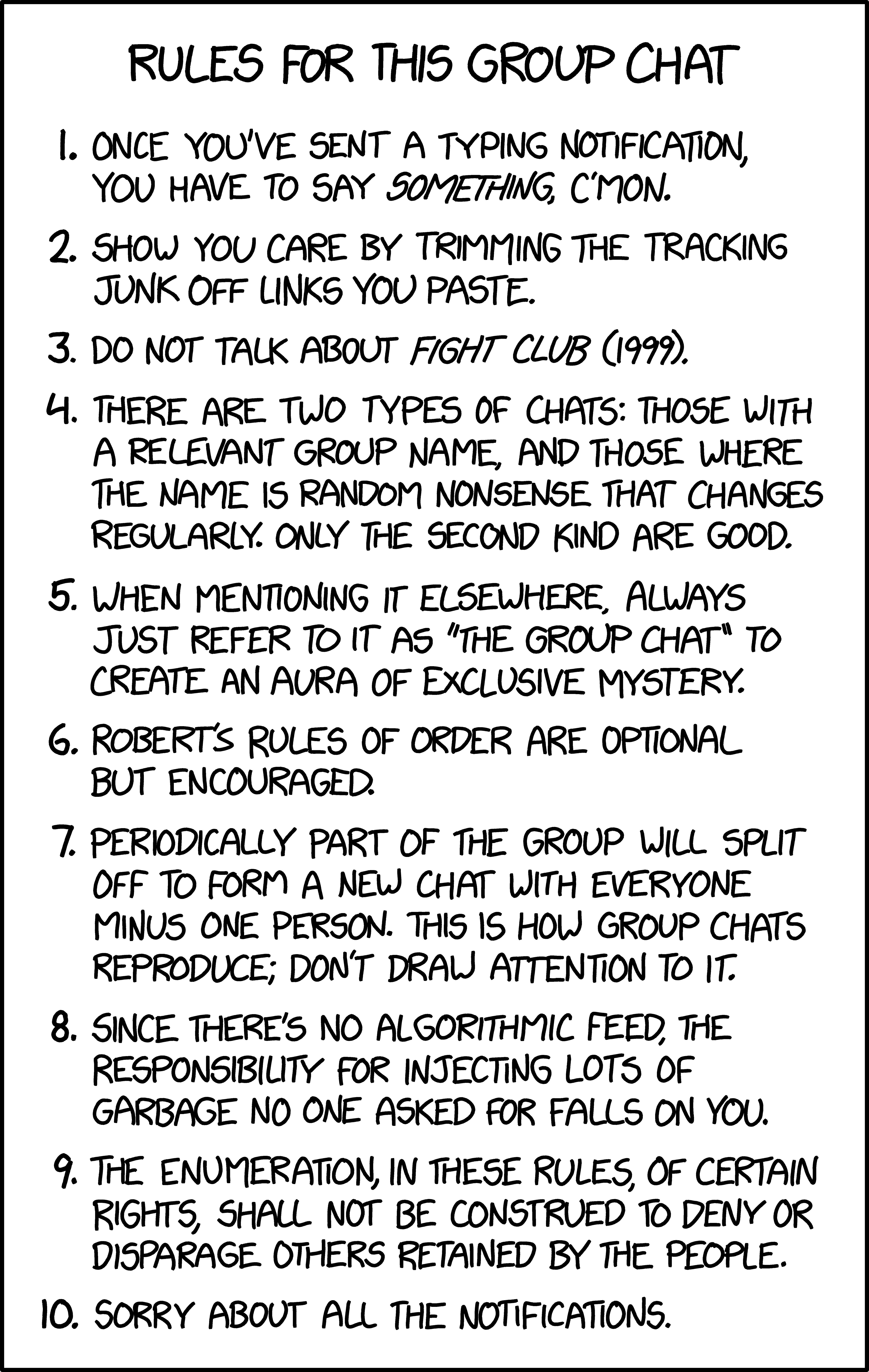Group Chat Rule Http Xkcd Com 2235 Fight Club 1999 Essay