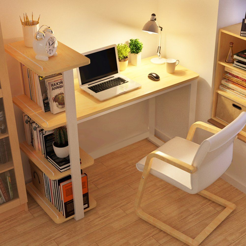 Modern Wood Home Office Desk Corner Computer PC Table Workstation with  Bookshelf