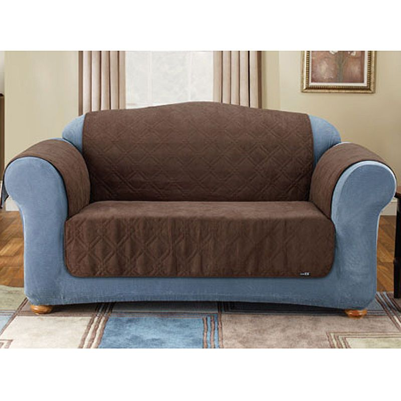 Sure Fit Quilted Velvet Deluxe Loveseat Pet Furniture Cover Slipcovers Cushions On Sofa Suede Sofa