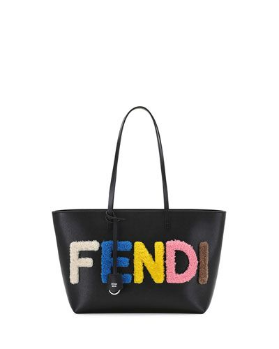 02039d582206 V2QHC Fendi Shearling Fur Logo Lettering Small Roll Tote Bag