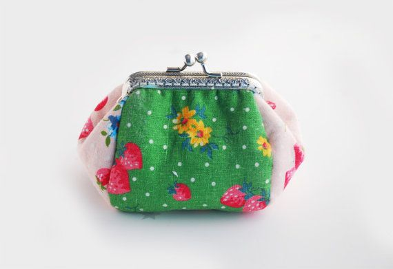 Strawberry and Polka dot coin Purse Green Pink jewellery purse