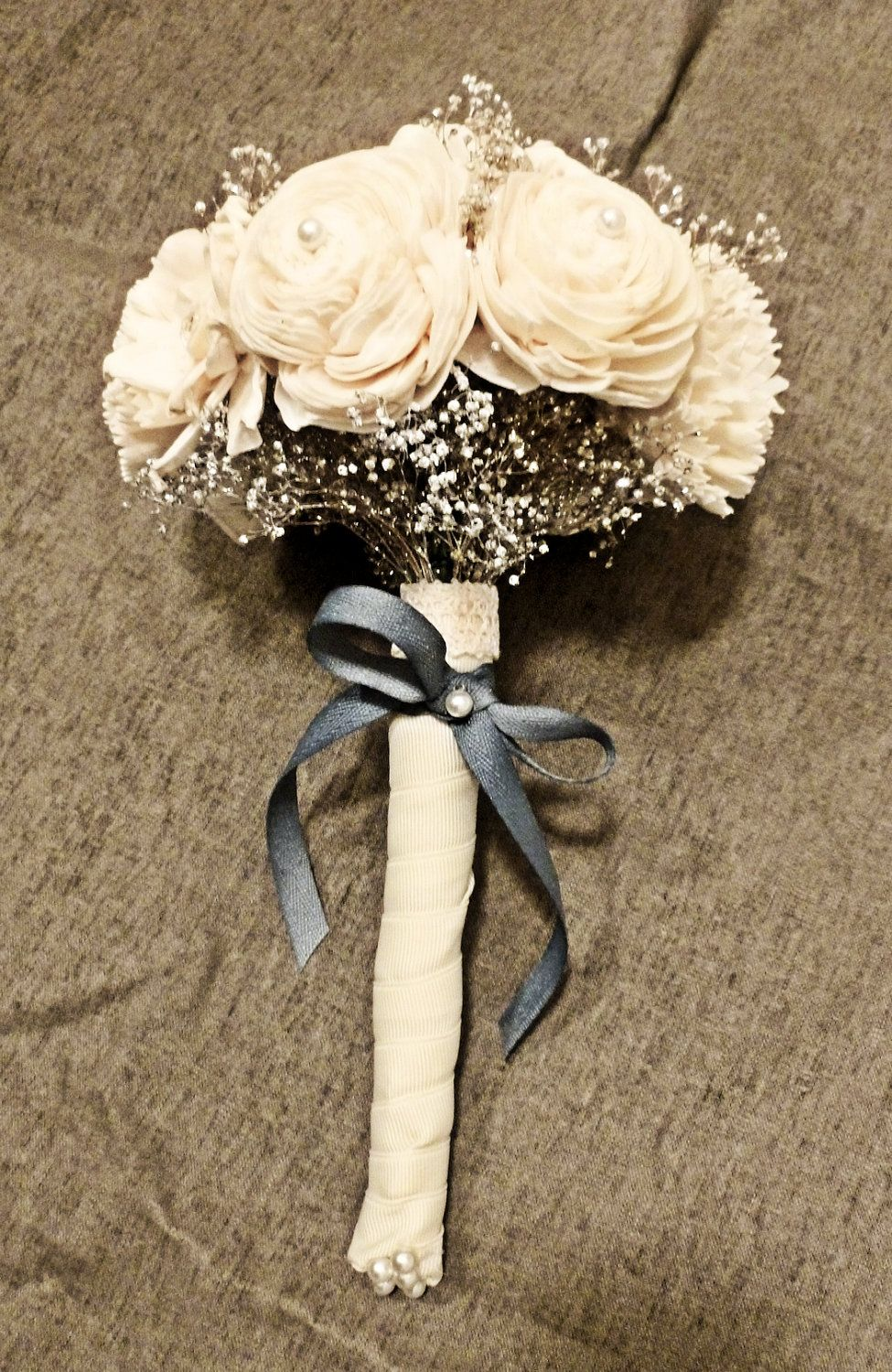 Custom Mini Bouquet- Ivory Silver Wedding Bridal Bouquet, Bridesmaid ...
