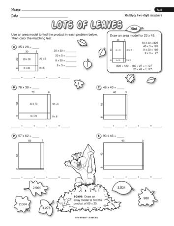 This Worksheet Reinforces The Common Core Strategy Of Using An Area