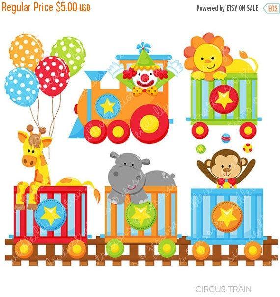 Zirkus Zug niedlich digitale Cliparts für kommerziellen