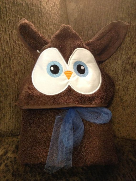 Owl Hooded Towel Personalized by StarsAndHeartsSewing on Etsy
