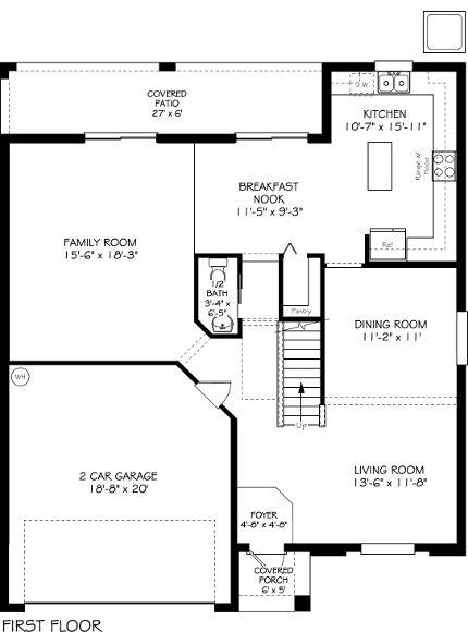 First Floor Monaco Floor Plan 2 Story 3 Bedrooms