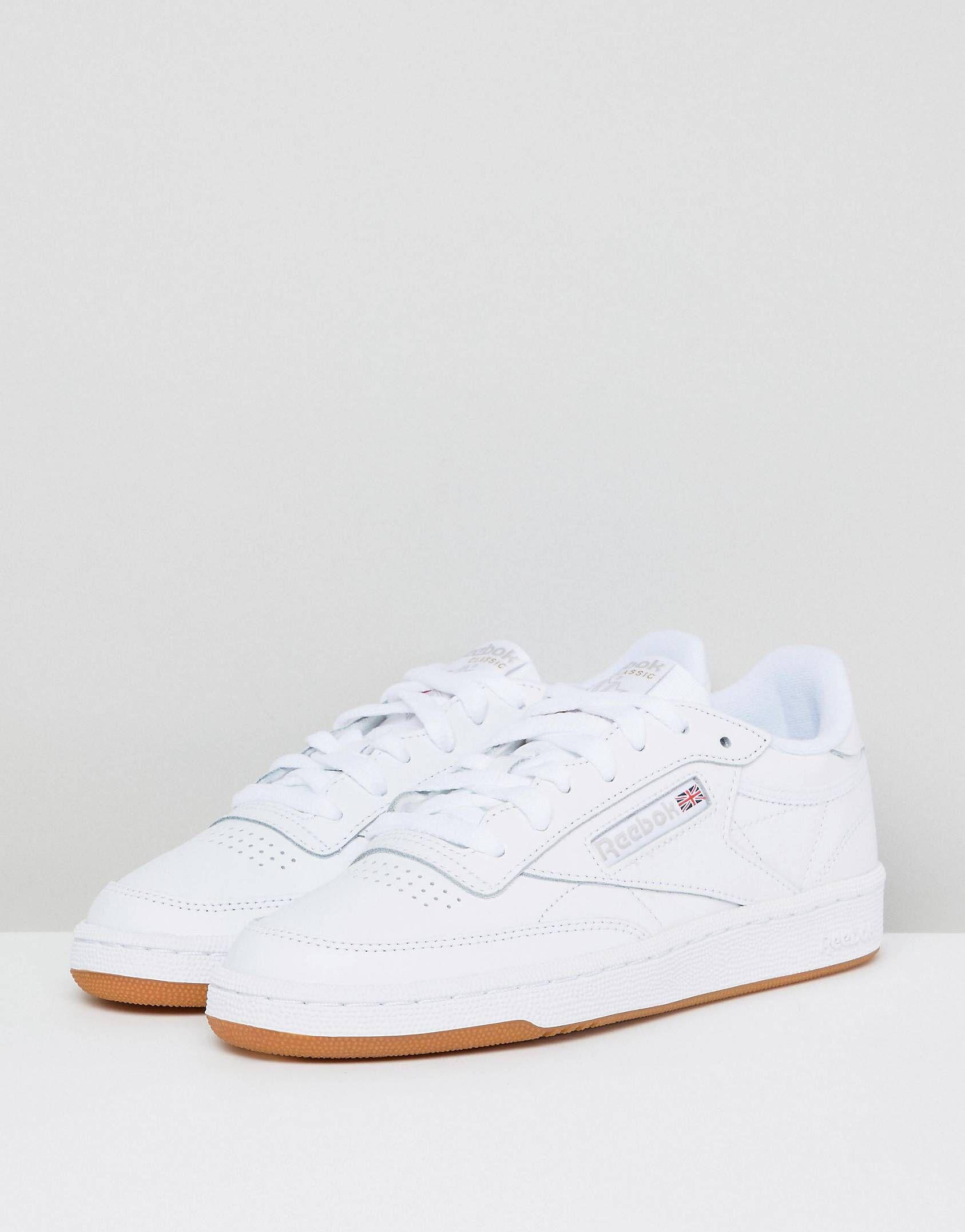 exquisite handwerkskunst wo zu kaufen attraktiver Stil Reebok Classic Club C 85 Sneakers In White Leather With Gum ...