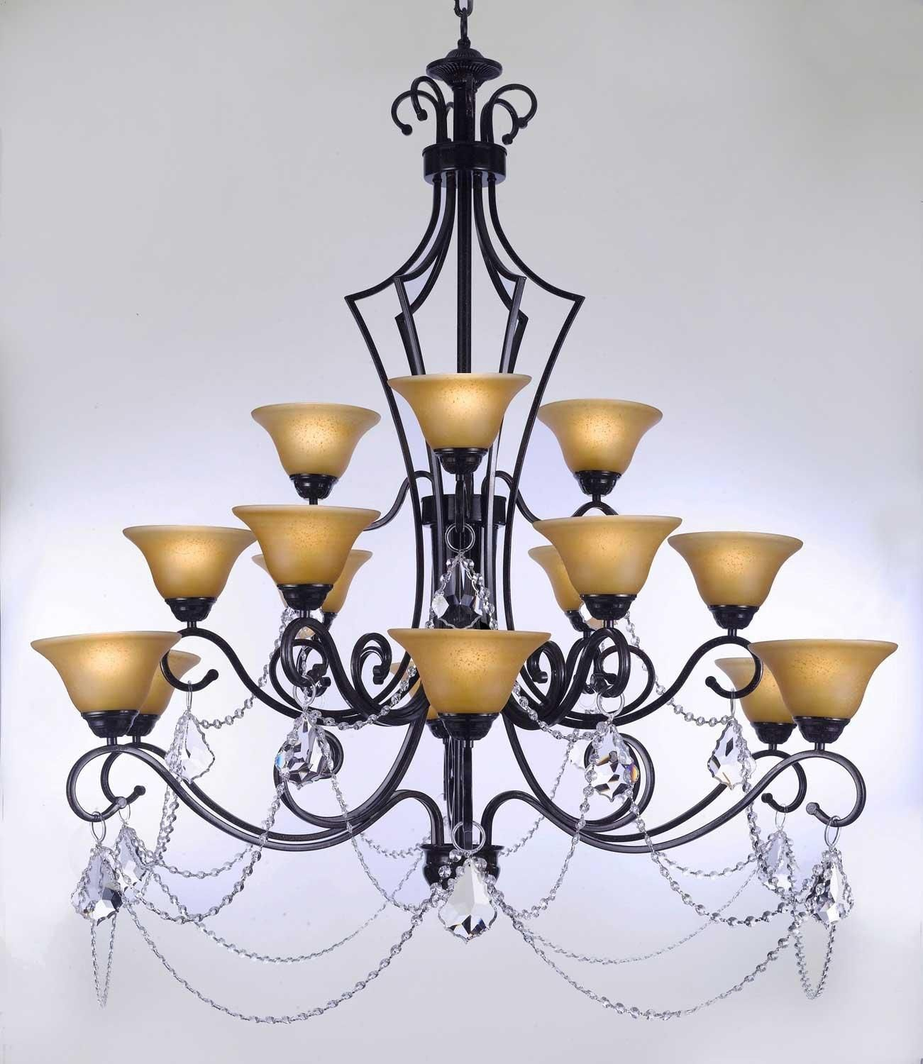 Wrought Iron Chandelier Lighting With Crystal H51 x W49 Perfect