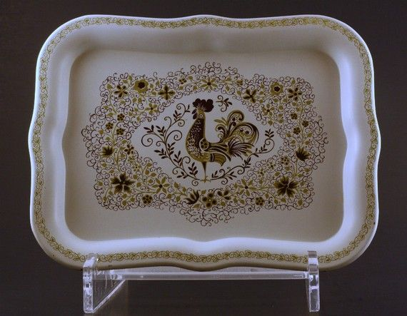Vintage French Country Rooster Tole Tray